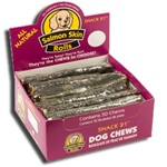 Snack 21 Salmon Skin Rolls for Dogs-50 Count Display